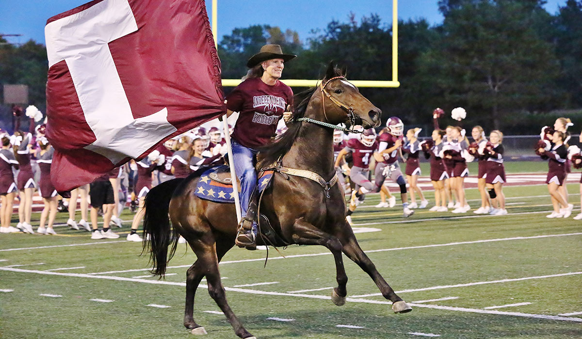 Mustang at the football game