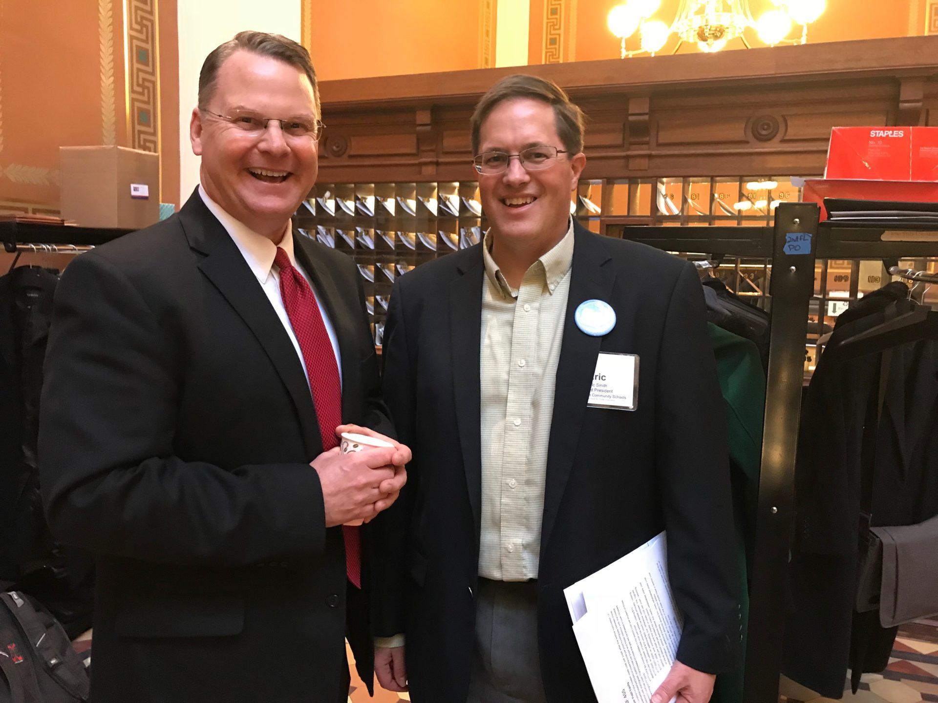 School Board President, Eric Smith with Senator Craig Johnson