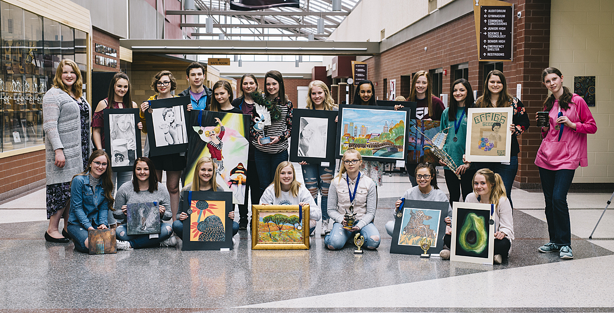 art students showing their projects