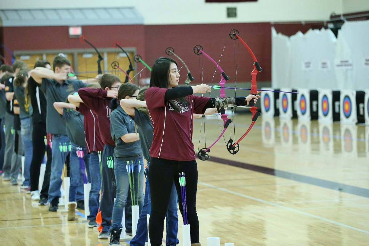 Archers ready to shoot arrows at meet