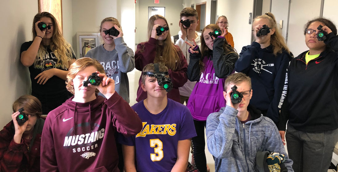 students with night vision goggles on