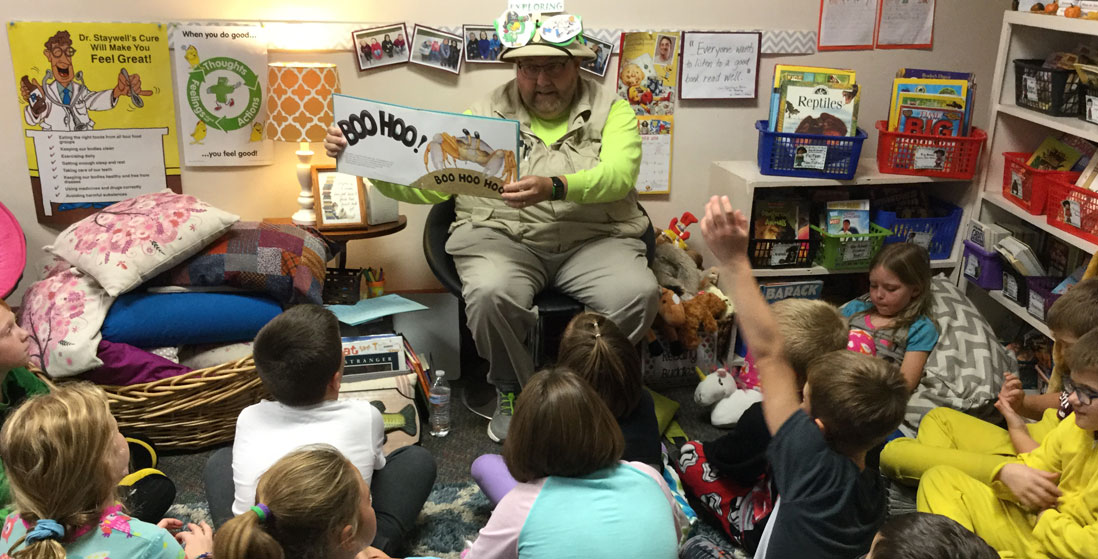 mr. roper reading to class