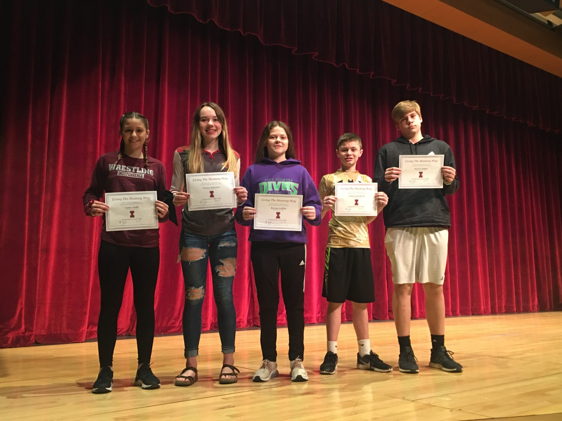 Junior High students showcase their awards