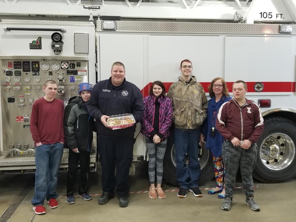 students visit fire department