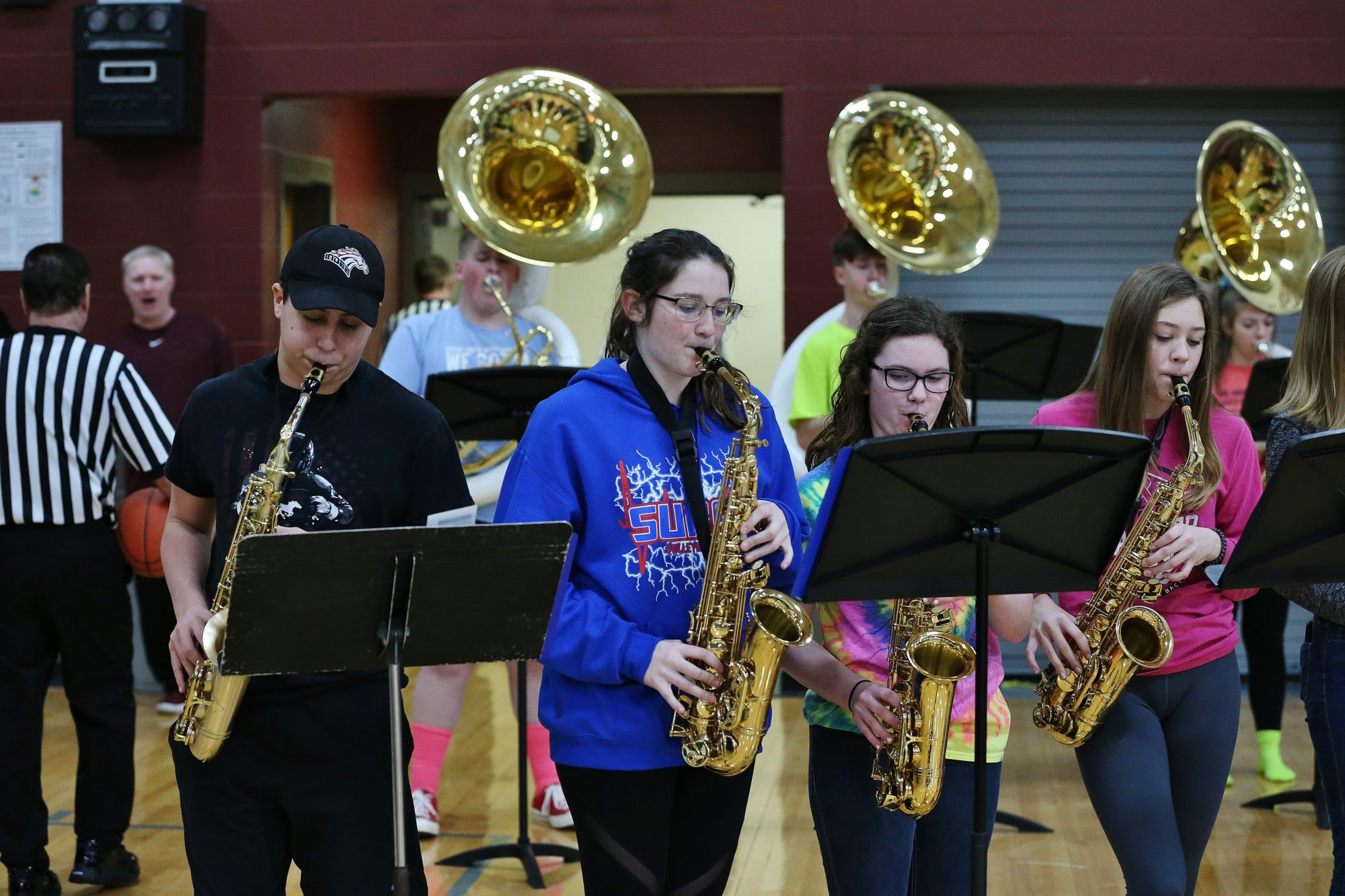 pep band performs
